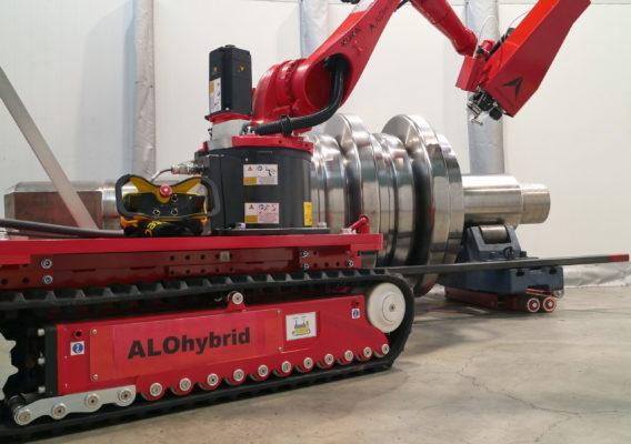 ALOhybrid - mobiler Einsatz im Maschinebau - Laserhärten einer großen Welle
